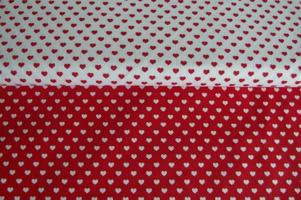 Látky vzor srdce   Látka červená drobné 6mm biele srdiečka 968028e1738